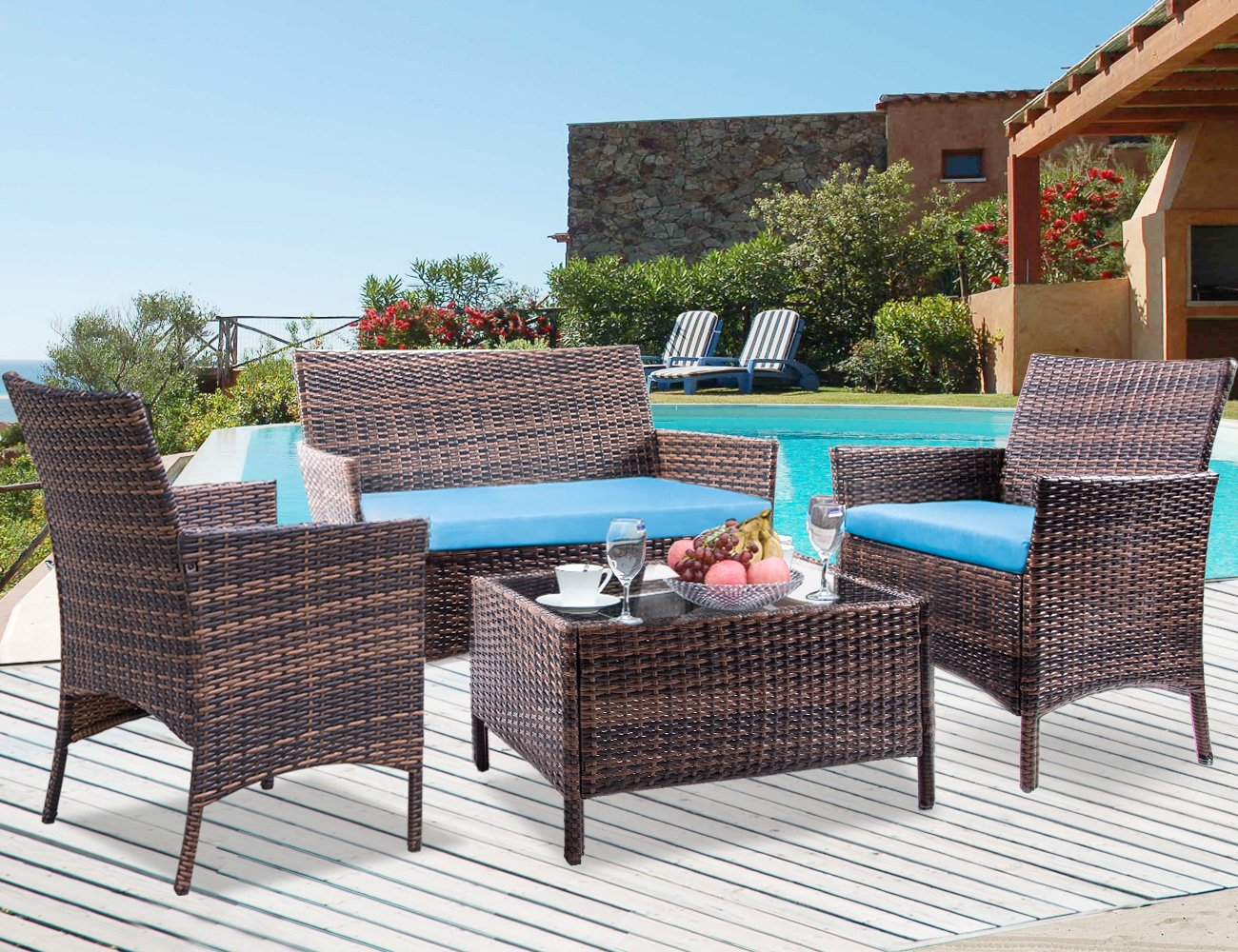 Leisure Zone 4 PCS Patio Furniture Outdoor Garden Conversation Wicker Sofa Set, Green Cushions - Set includes: 2 x Armchair; 1 x Double sofa; 1 x Coffee table; 3 x Cushions Idea for patio, porch, poolside or garden,No maintenance required, will not crack, split, rot, chip, fade or deteriorate Strong steel frame with all weather PE rattan wicker, durable for outdoor use - patio-furniture, patio, conversation-sets - 81lXAdunMfL -