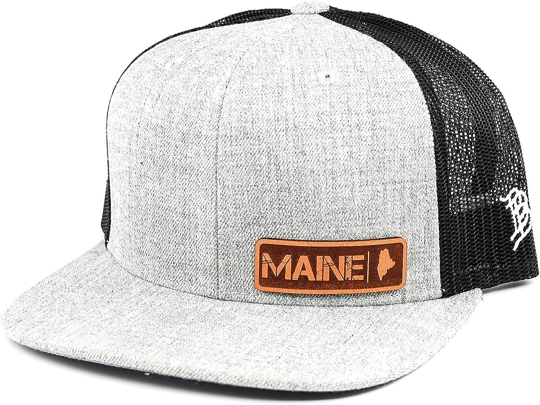 OSFA//Heather Grey//Black Branded Bills /'Maine Native Leather Patch Hat Flat Trucker