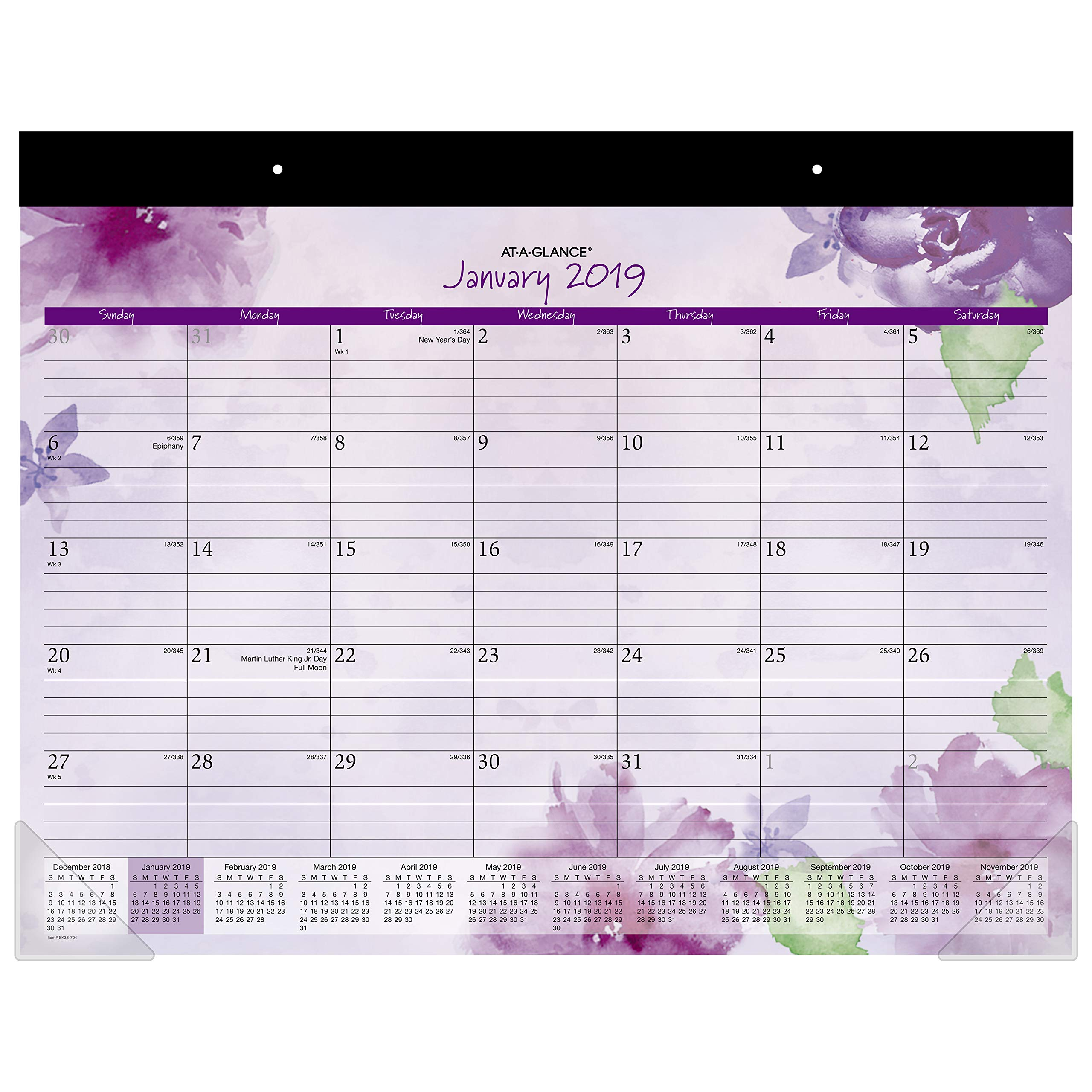 AT-A-GLANCE 2019 Desk Calendar, Desk Pad, 21-3/4'' x 17'', Standard, Beautiful Day, Lavender (SK38-704) by AT-A-GLANCE
