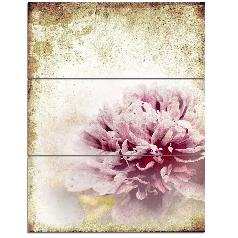 Designart PT8294-30-40 Pink Peony in Vintage Style Floral Digital Canvas Art Print 30x40