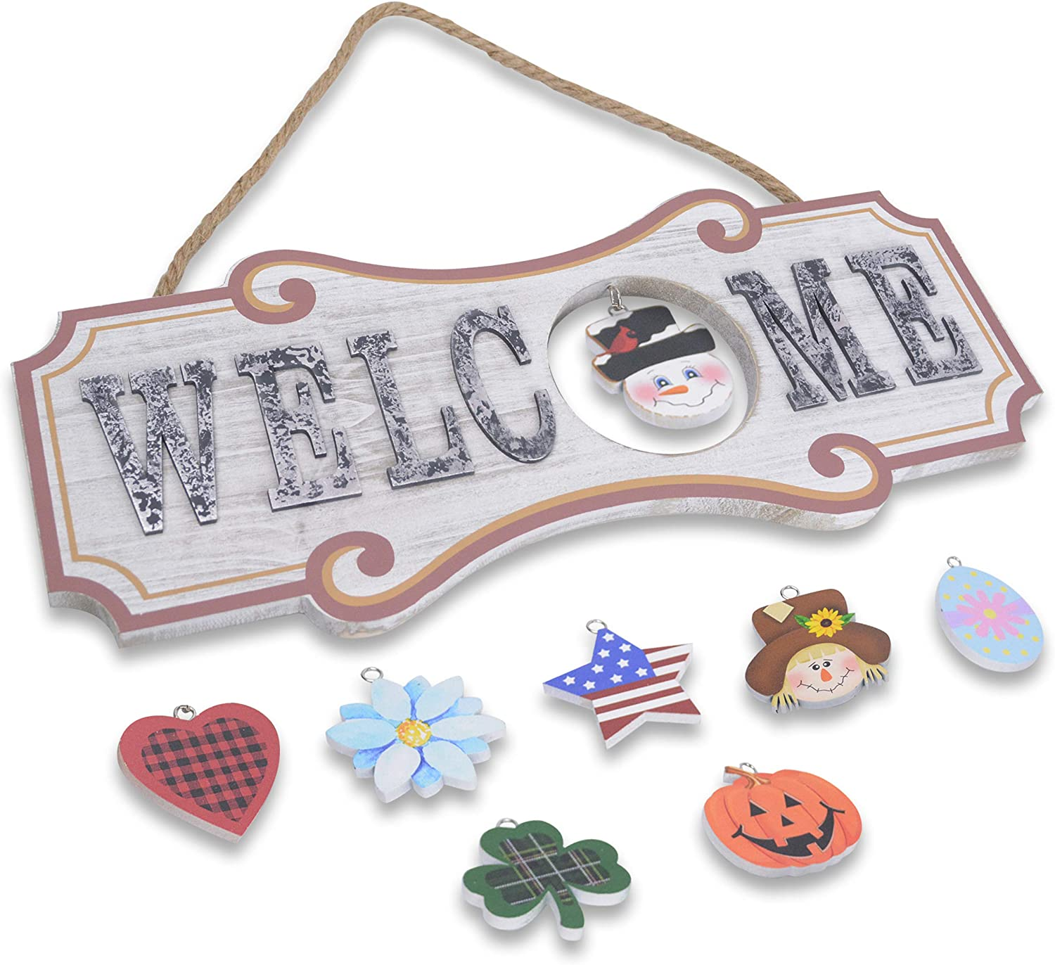 WRISTALL Interchangeable Welcome Sign Front Door Decor - Wall Hanging Plaque Home Decoration for Christmas Valentine Thanksgiving Spring Summer Autumn America Holiday