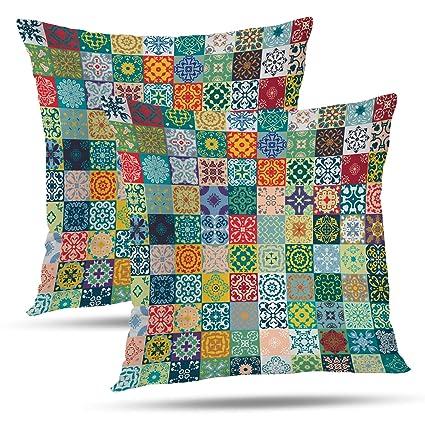 Amazon.com: Batmerry Patchwork Pillow Covers 18x18 Inch Set ...