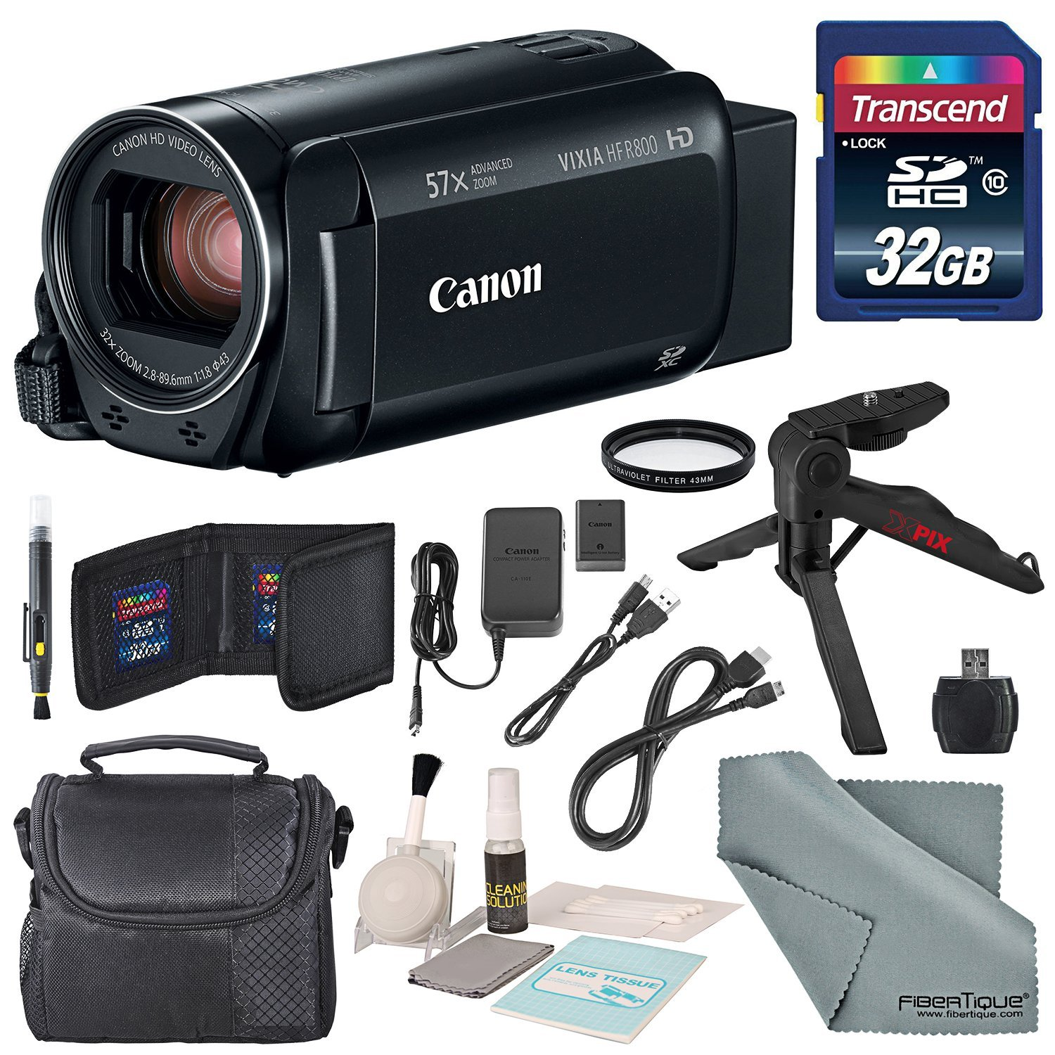 Canon Vixia HF R800 HD Camcorder (Black) Bundle W/ 32GB SD Card, Camcorder Case, Cleaning Accessories and Fibertique Cleaning Cloth by Photo Savings