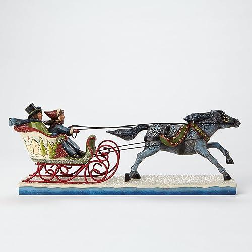 Jim Shore for Enesco Heartwood Creek Victorian Couple in Sleigh Figurine, 5.125