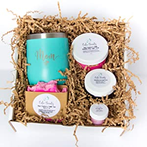 Artisan Handmade Bath Products Gift Set Made with Natural Ingredients for use at Home with Insulated wine/coffee mug Perfect Spa giftset for Women | Mom | Sister| Best Friend | New Mom| Sister in Law| Coworker| Neighbor| Grandma