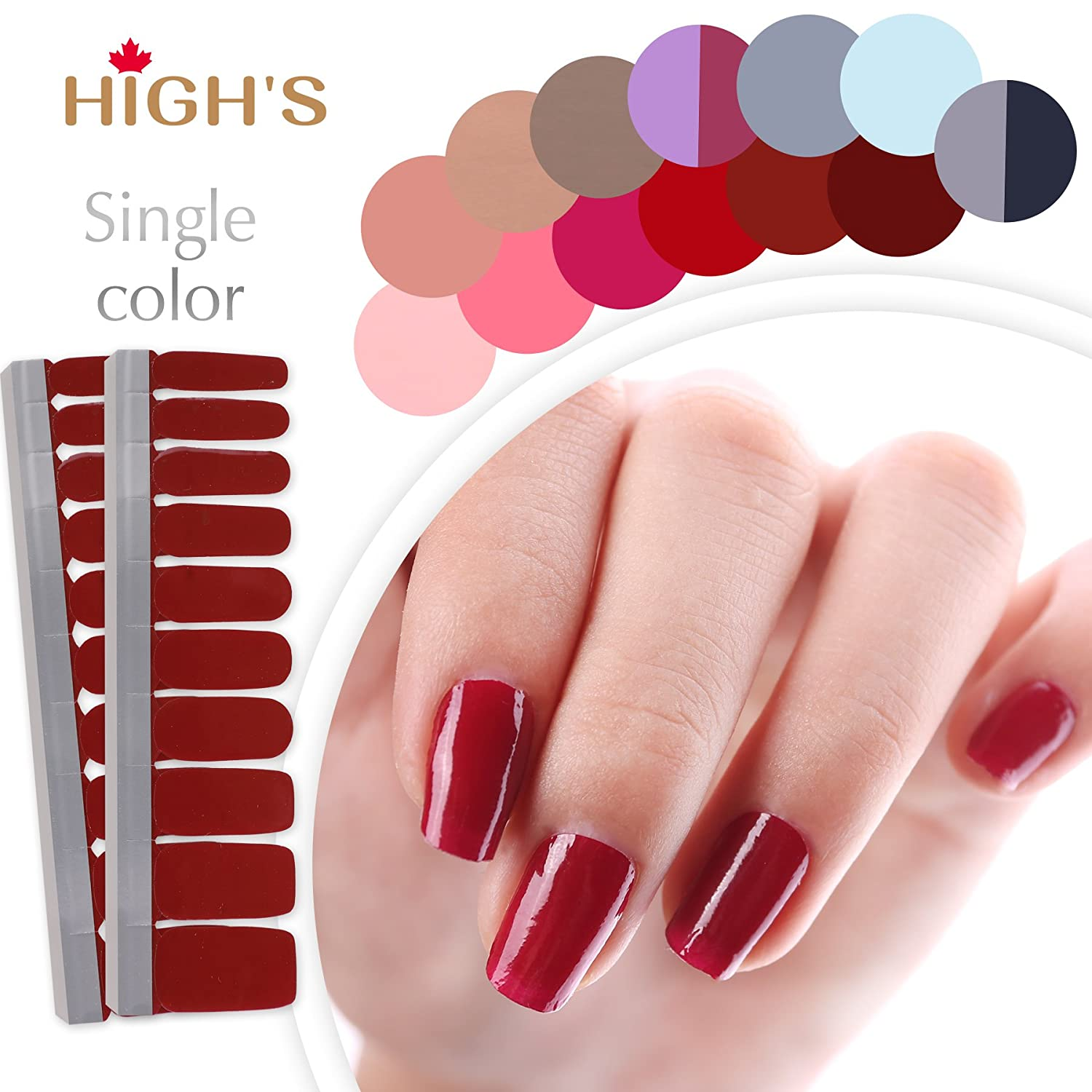 HIGH'S Single Color Series Classic Collection Manicure Nail Polish Strips Nail Wraps, Dark Salmon HIGH' S