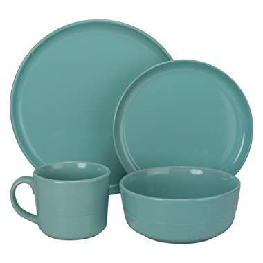 10 Strawberry Street Double Line Dinnerware, 16 Pc Set, Seafoam