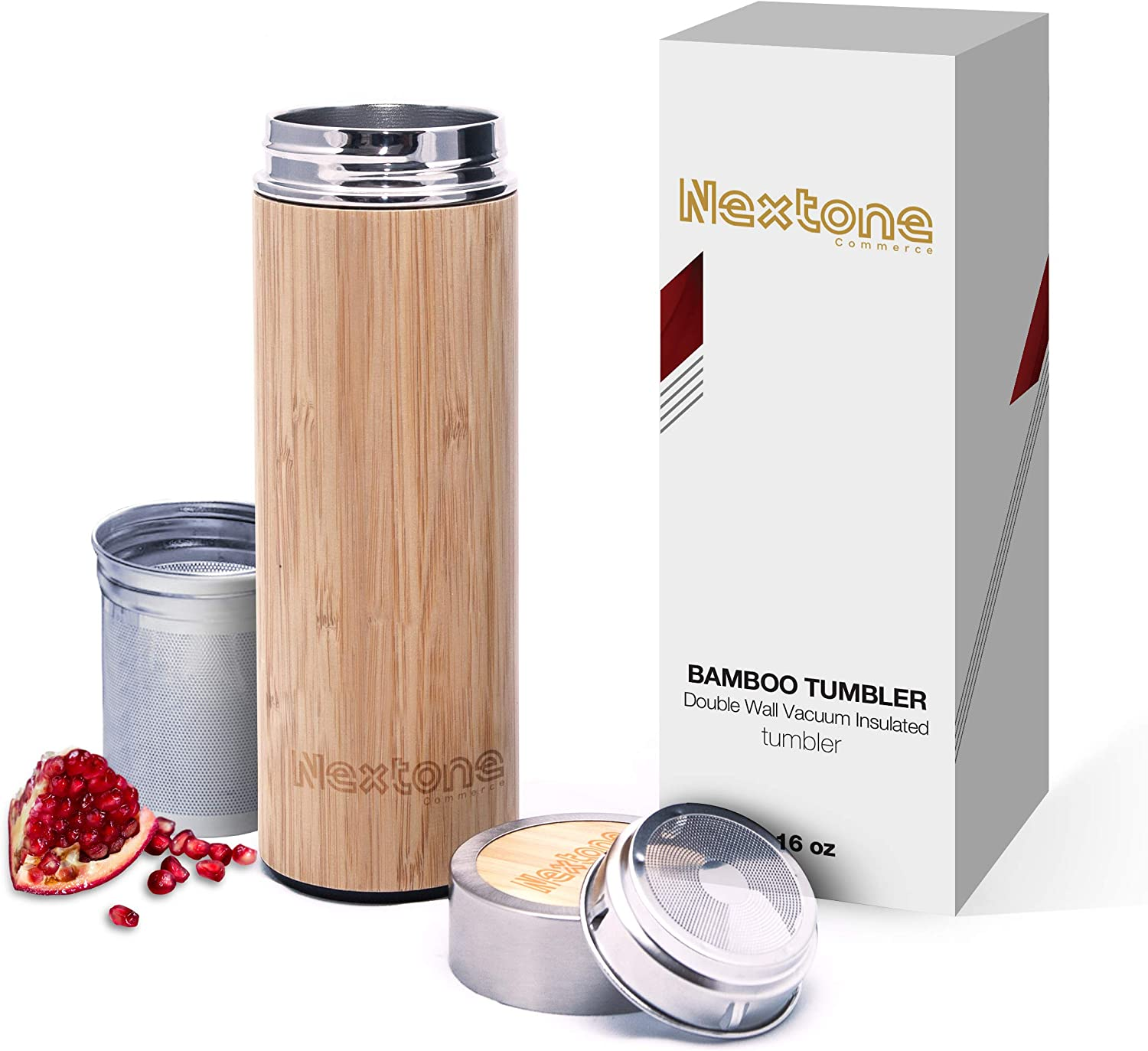 Tea Infuser Tumbler With Detachable Tea Infuser & Strainer | 17oz Premium Bamboo Tea Infuser Bottle With Double Stainless-steel Tea Bottle | Bamboo Tumbler Travel Tea Mug | Comes With Tea Diffuser