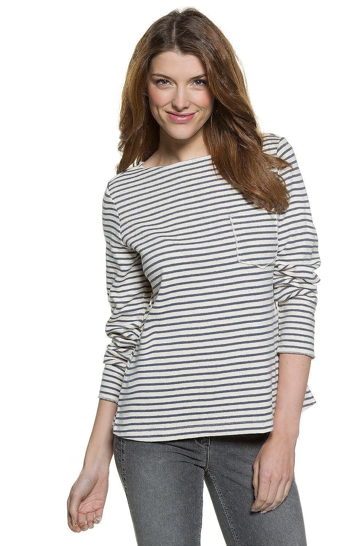 TALLA 42. GINA LAURA Sweatshirt | Streifen-Muster | Rundhalsausschnitt | Langarmr | Bequem Geschnitten | bis Größe XXXL, Sudadera para Mujer
