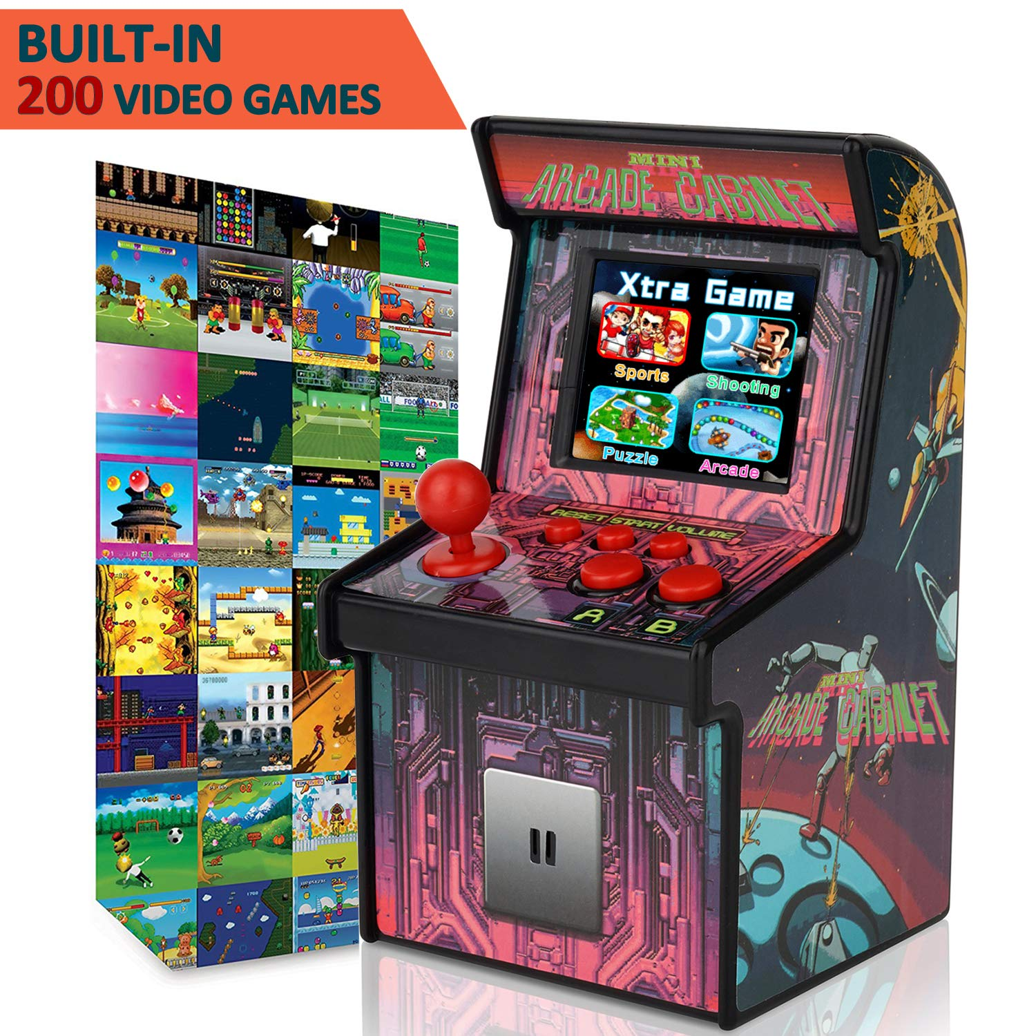 GBD Kids Mini Retro Arcade Game Cabinet Machine 200 Classic Handheld Video Games 2.5'' Display Joystick Travel Portable Game Player Kids Boys Girls Holiday Birthday Gifts Electronic Toys by GBD (Image #2)