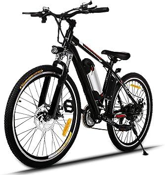 AIMADO Bicicletas Electricas de Montaña, E-bike MTB 250W 25-35 km/h, Aluminio, Batería de Litio 36V, Shimano 21, Ruedas Grandes de 25 Pulgadas con Luz Delantera LED 2 Frenos, Enchufe de la EU【EU