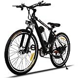 AIMADO Bicicletas Electricas de Montaña, E-Bike MTB 250W 25-35 Km/h, Aluminio, Batería de Litio 36V, Shimano 21, Ruedas Grandes DE 25 Pulgadas con Luz Delantera LED 2 Frenos, Enchufe de la EU