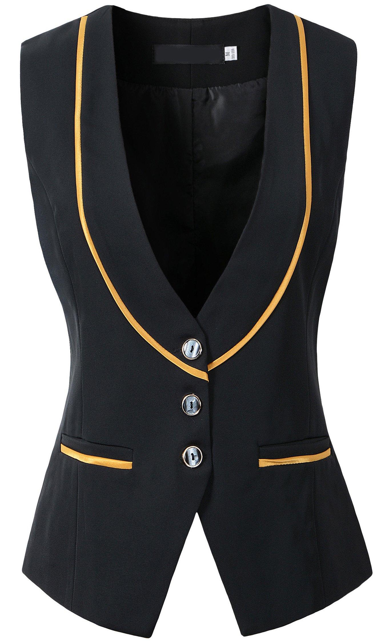 Vocni Women Slim Fit V-Neck Buttoned Business Waistcoat Vest, US XS(Asia M) (Fit Bust 30.7''-33.5''),  Black