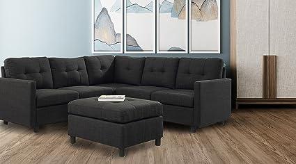 DAZONE Modular Sectional Sofa Assemble 6 Piece Modular Sectional Sofas  Bundle Set Cushions, Easy