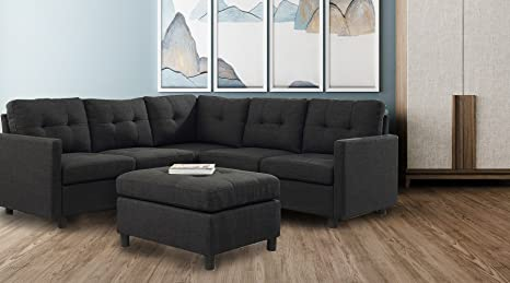 DAZONE Modular Sectional Sofa Assemble 6-Piece Modular Sectional Sofas  Bundle Set Cushions, Easy to Assemble Left & Right Arm Chair,Corner Chair,  ...