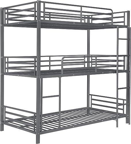 Coaster Home Furnishings Maynard Metal Triple Twin Bed Gunmetal Bunk