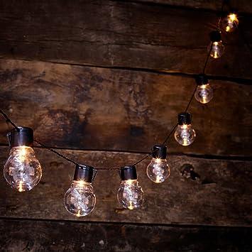 globrite solar powered outdoor clear bulb retro festoon lights with
