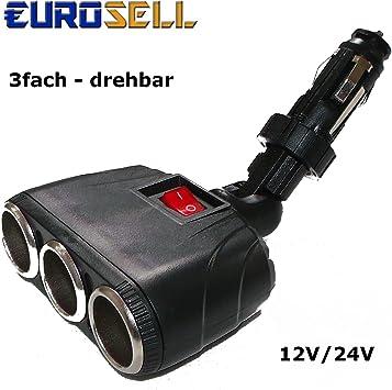 Eurosell 12 24 Volt Zigarettenanzünder Buchse Y 3er Weiche Verteiler Stecker Kfz Auto Lkw Beweglicher Winkelstecker Winkel Stecker Steckdosen Auto