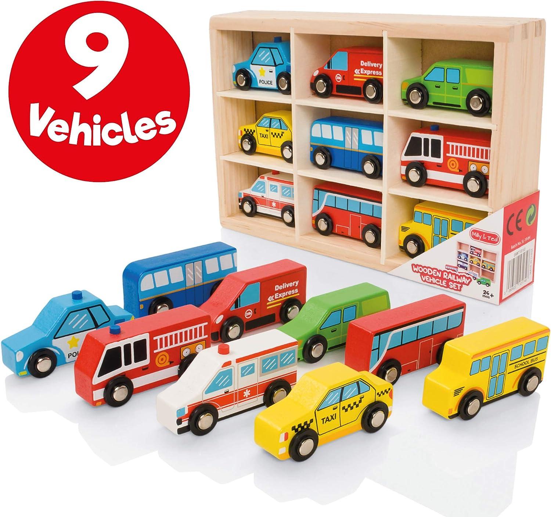 Milly & Ted - Juego de Juguetes con Forma de Coche de Madera - Juego de 9 vehículos para niños de 2 años en adelante - Adecuado para los ferrocarriles de Madera