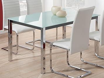 Mesa para comedor fija de cristal templado blanco con patas cromadas ...