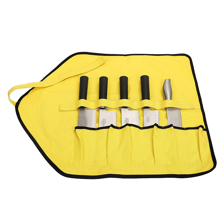 QEES Handgefertigt Messertasche Kochtasche Rolltasche Wasserdicht Gewachst Aus Segeltuch Mehrzweck Tasche Notwendige Werkzeugtasche Fü r neue oder professionelle Kö che GJB26-knife bag ZhuoLang