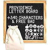 Premium 10 x 10 Inch Oak Frame Changeable Black Felt Letter Board + 340 White Characters & Bag