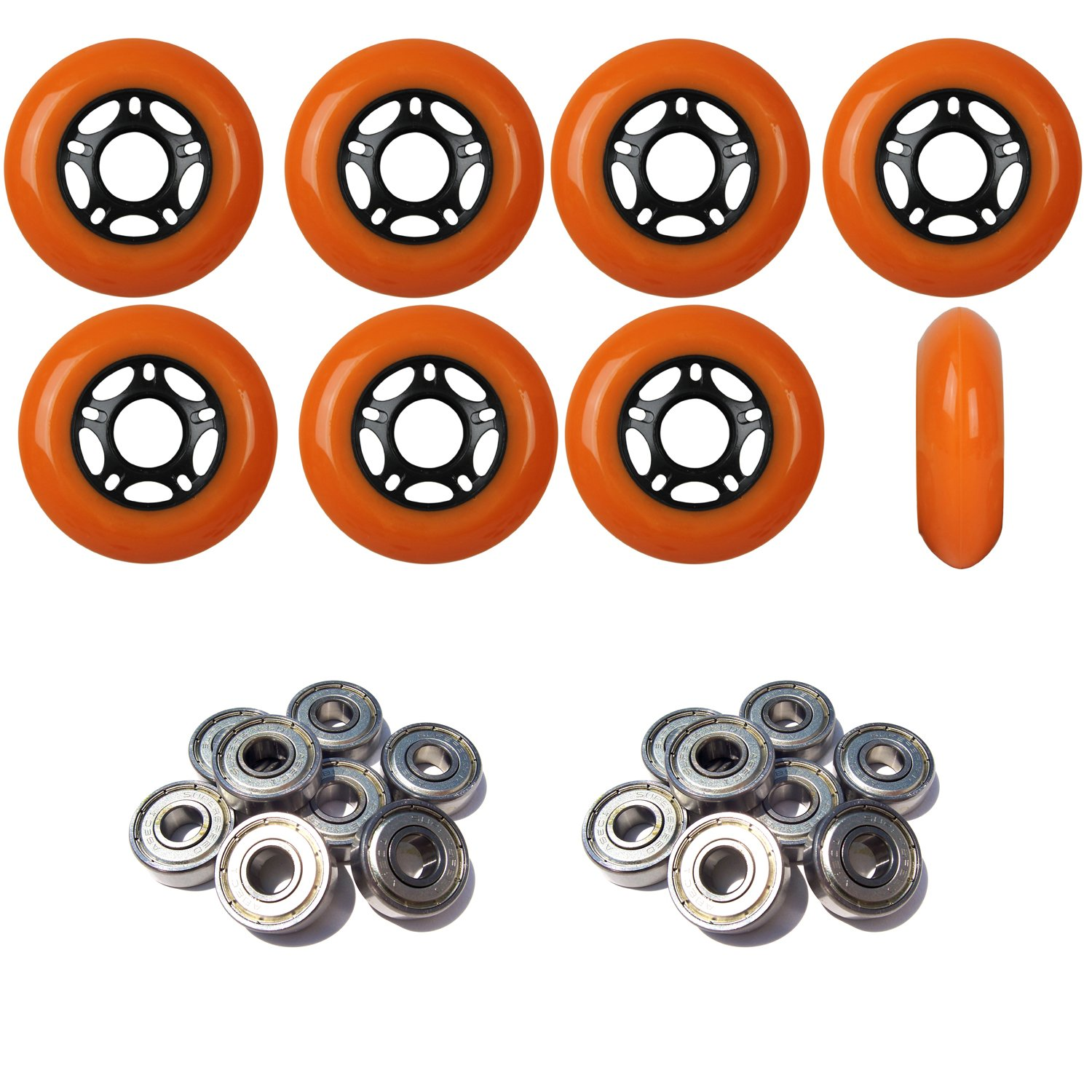 Player's Choice Outdoor Inline Skate Wheels 80MM 89a Orange x8 W/ABEC 9 Bearings by Player's Choice