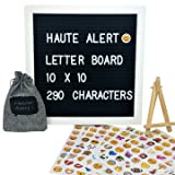 Letter Board - Felt Letter Board Black 10 x 10 inch Oak Frame - 290 Changeable White Plastic Letters - Open Face Bulletin Board - Vintage Wooden Message Board