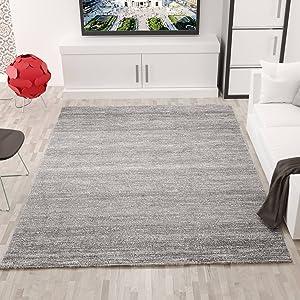 VIMODA viva6824 melliert pelo corto Alfombra, tejido ecológico certificado, autenticidad de colores, Cuidado fácil, gris, 120 x 170 cm