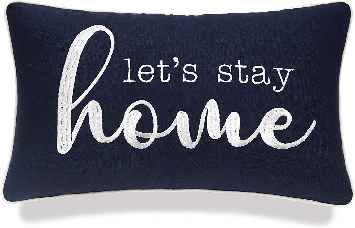 "YugTex Let's Stay Home Sentiment Decorative Embroidered Lumbar Accent Throw Pillow Cover -12""x18"", Navy Blue"