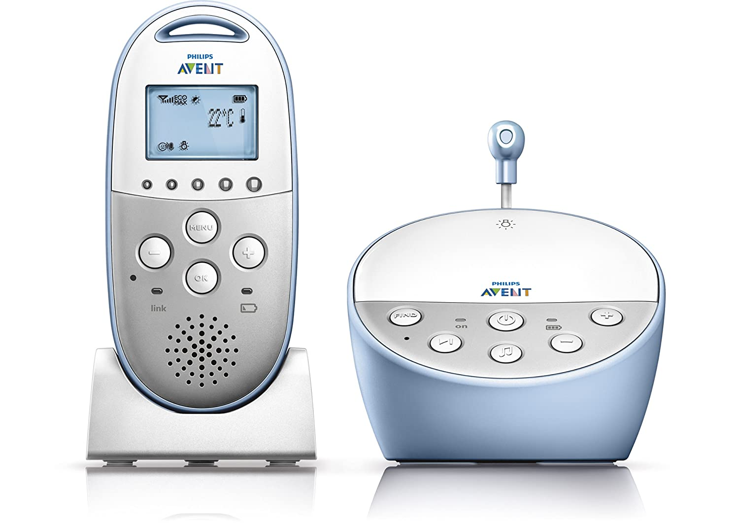 Philips Avent DECT Baby Monitor with Temperature Sensor and Night Mode, SCD570/10
