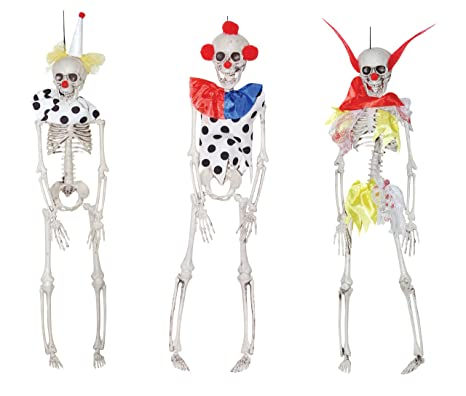the gothic collection set of 3 clown skeletons halloween prop decoration