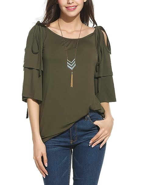 f9c6af465f72 Meaneor Women Cold Shoulder Slid Split Flare Sleeve Top Blouse T-Shirt Army  Green S