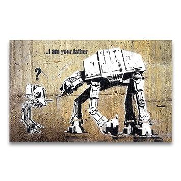 d906c129d9522f Banksy Kunstdruck auf Leinwand  quot I am your Father quot  - Star Wars  Graffiti Bild