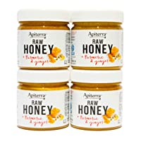Apiterra - 100% Pure Raw Honey Infused with Turmeric and Ginger - 8 Ounce, 4 Count (total 32 ounce)