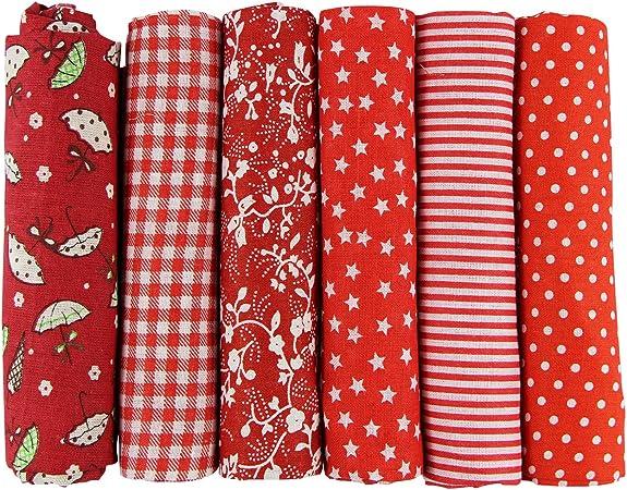 aufodara 6pcs 50 x 50 cm, diseño de retales algodón Tejido DIY hecho a mano Costura Quilting tela diseños diferentes: Amazon.es: Hogar
