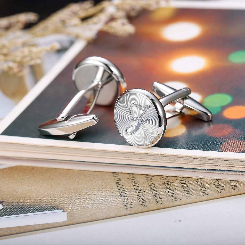 Yadoca 26 Initialen Buchstaben Kupfer Manschettenkn/öpfe Krawattenklammer Set f/ür M/änner Vater Alphabet A-Z Personalisierte Klassisch Hochzeit Business Geschenk