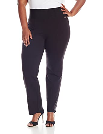 576bc142824 Calvin Klein Women s Plus Size Power Stretch Wide Waist Straight Pant