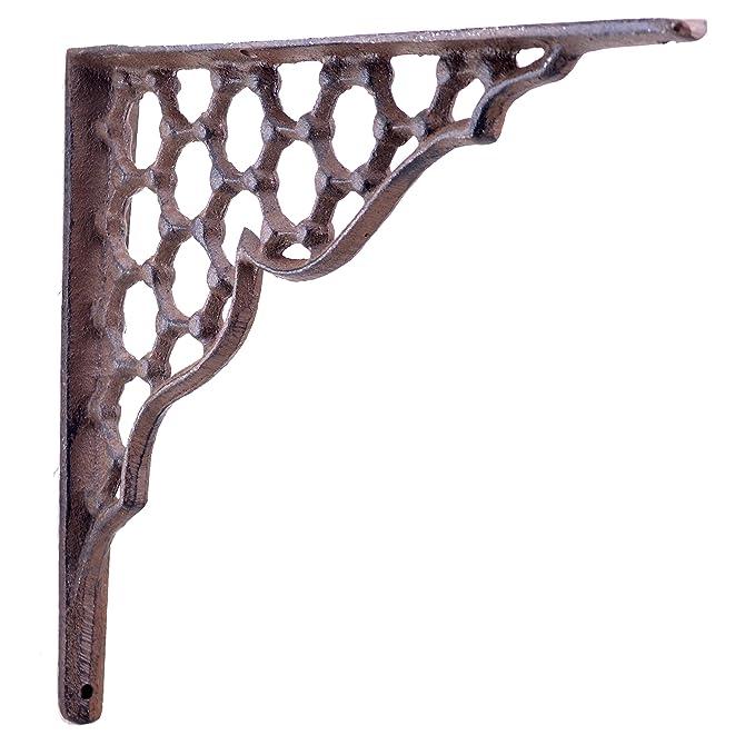 Decorative Shelf Bracket Hexagon Lattice Rust Brown Cast Iron Brace Corbel 9.25 Import Wholesales SBR0028