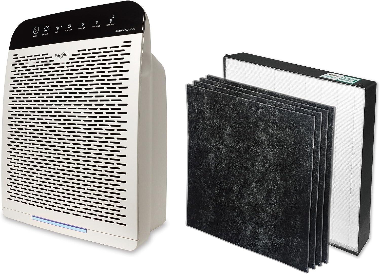 Whirlpool WPPRO 2000 purificador de aire con filtro de carbón activado original y juego de filtros HEPA auténticos, eliminador de olor, reduce la caspa de mascotas ...