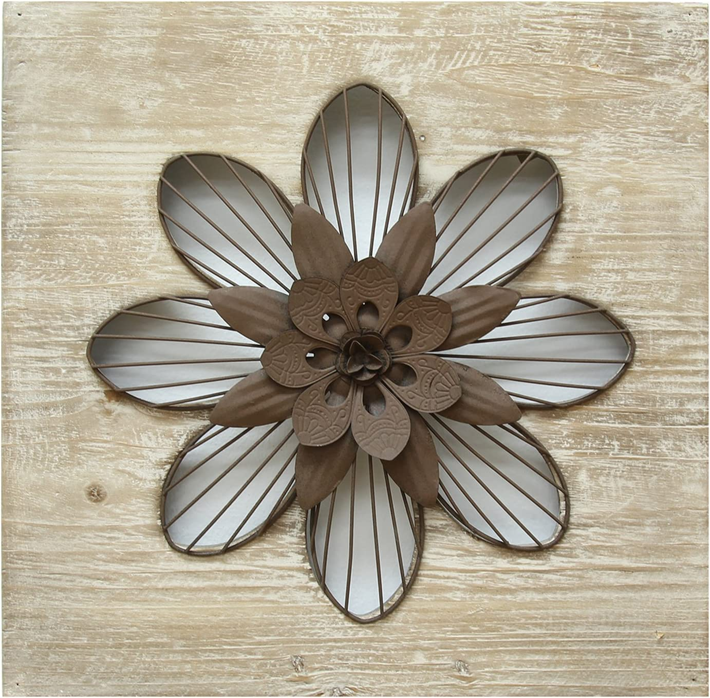 Stratton Home Decor SHD0189 Flower Wall Decor, Rustic, 14.00 W X 1.50 D X 14.00 H, Natural Wood/Espresso