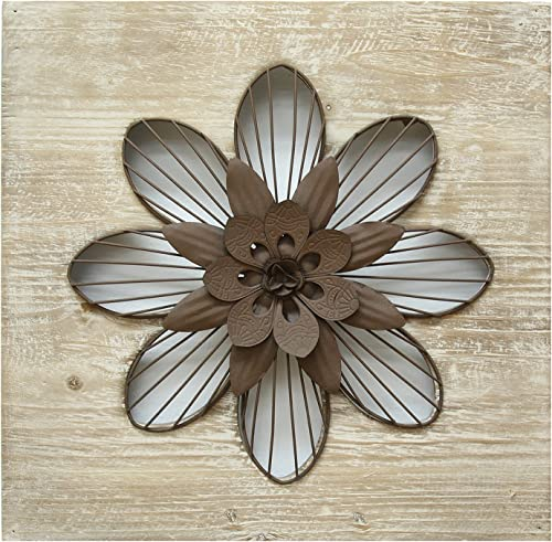 Stratton Home Decor SHD0189 Flower Wall Decor, Rustic, 14.00 W X 1.50 D X 14.00 H, Natural Wood Espresso