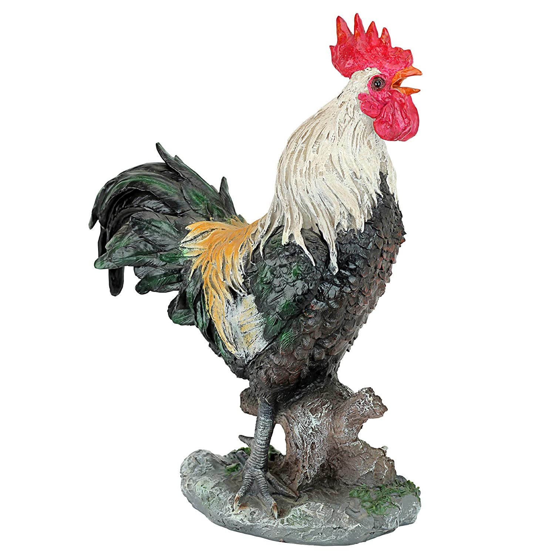 Design Toscano QM210951 Statue de Coq chantant Multicolore 33 x 19 x 43 cm