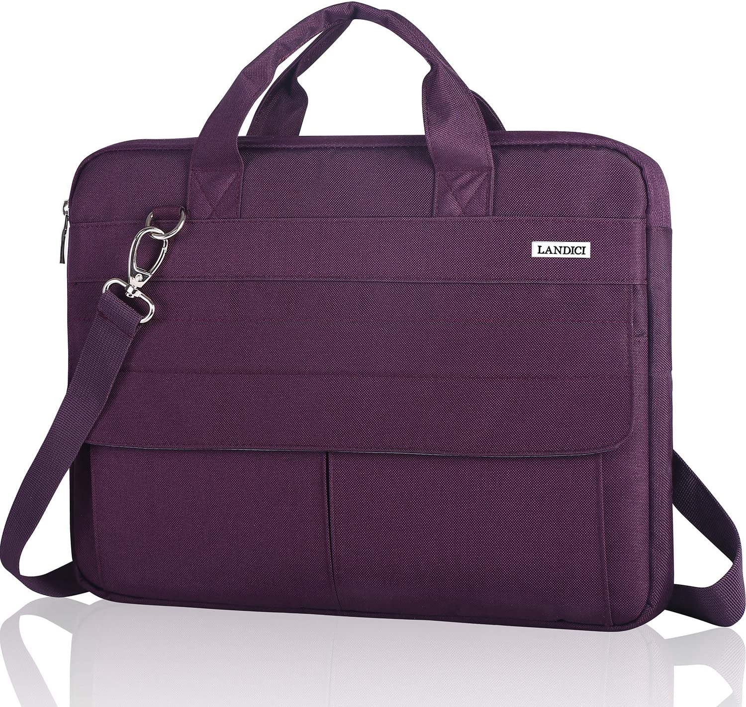 Landici 17 17.3 Inch Laptop Bag Case with Shoulder Strap, 360 Protective Waterproof Computer Carrying Sleeve Cover Compatible with HP Envy 17, 2020 Asus, New Razer Blade Pro 17,Women Ladies,Purple