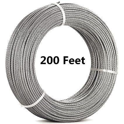 senmit 180 pies (1/8inch) Cable Cuerda de alambre, acero ...