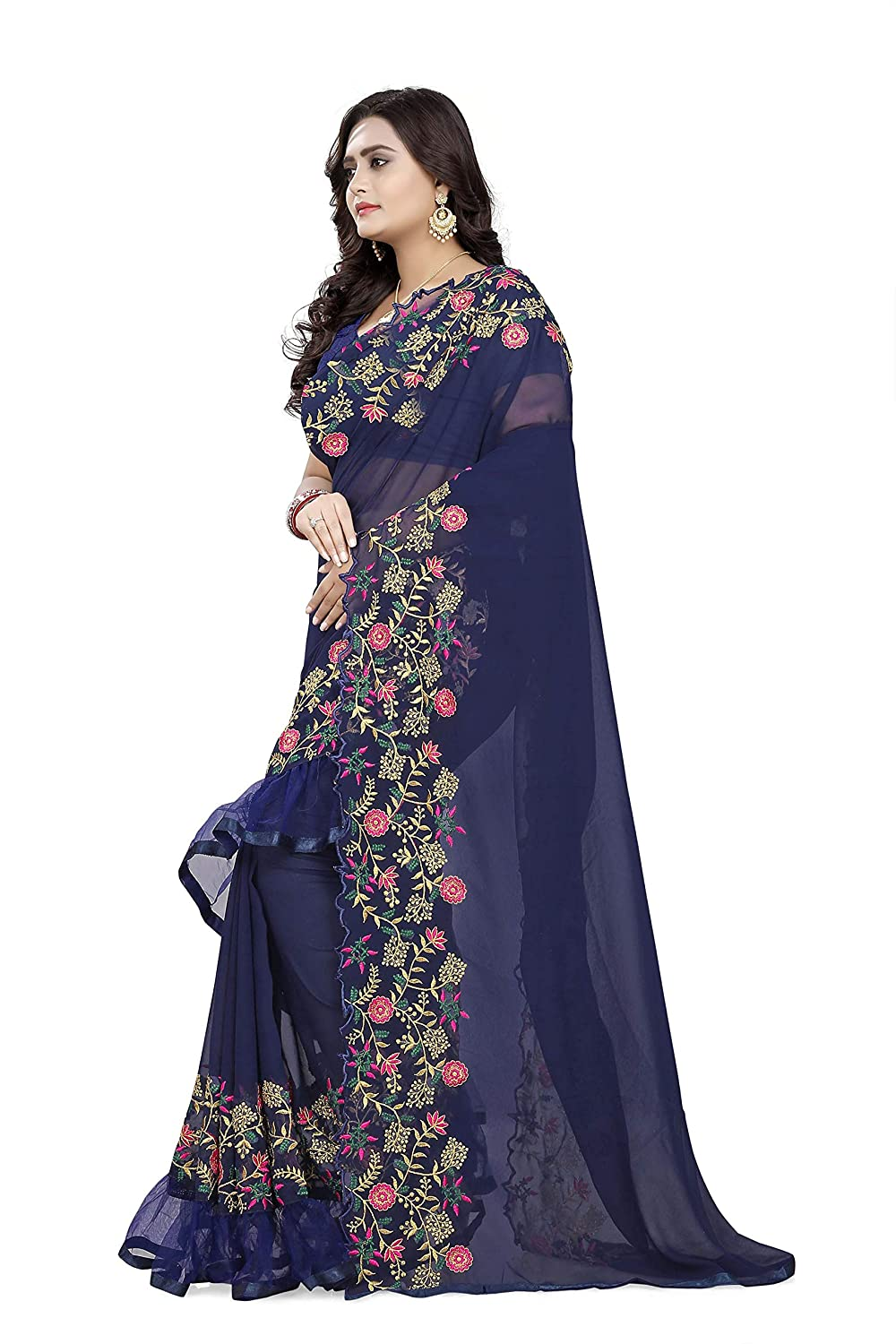 Best Georgette Ruffle Design Saree With Embroidery Work Saree Collection
