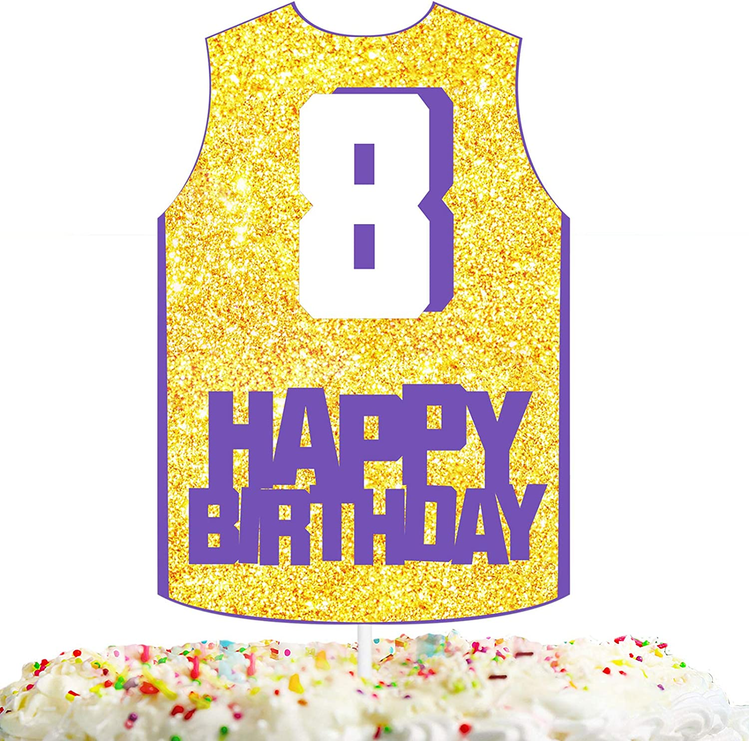Happy 8th Birthday Cake Topper Basketball Theme Kids Party Decor Picks for 8 years old Birthday Decorations Supplies