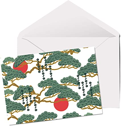 A5 vuoto biglietto di auguri compleanno albero giapponese #2037 Simpatico tema bonsai giapponese