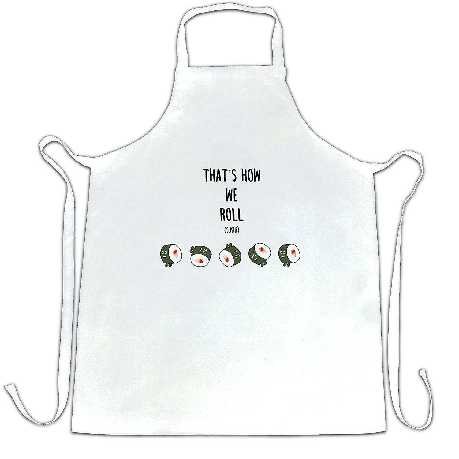 Funny Food Chefs Apron That's How We Sushi Roll Pun Slogan A-AP-01726-BLK
