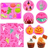 7 Pcs Halloween Fondant Molds, Mini Halloween Silicone Molds Pink Polymer Clay Molds for Chocolate Candy Baking Mold Skelton